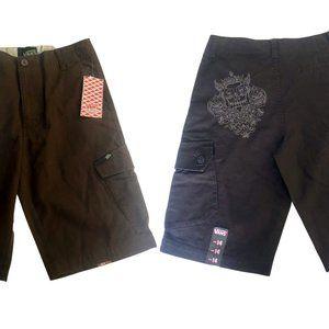 Boys Sz 14 NWT Cargo Shorts Skull Embroidery Vans